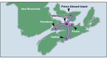 Map of daytrips from Sunrise Marina Cottages near Tatamagouche